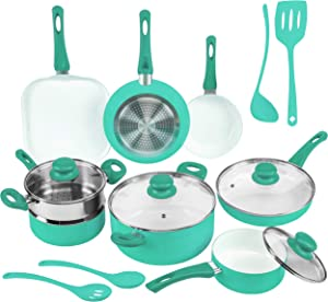 Ivation Ceramic Cookware | 16-Piece Nonstick Cookware Set with Induction Base, SoftGrip Handles & Clear Glass Lids | Compatible with Induction, Ceramic, Gas, Electric & Halogen Cooktops | Turquoise