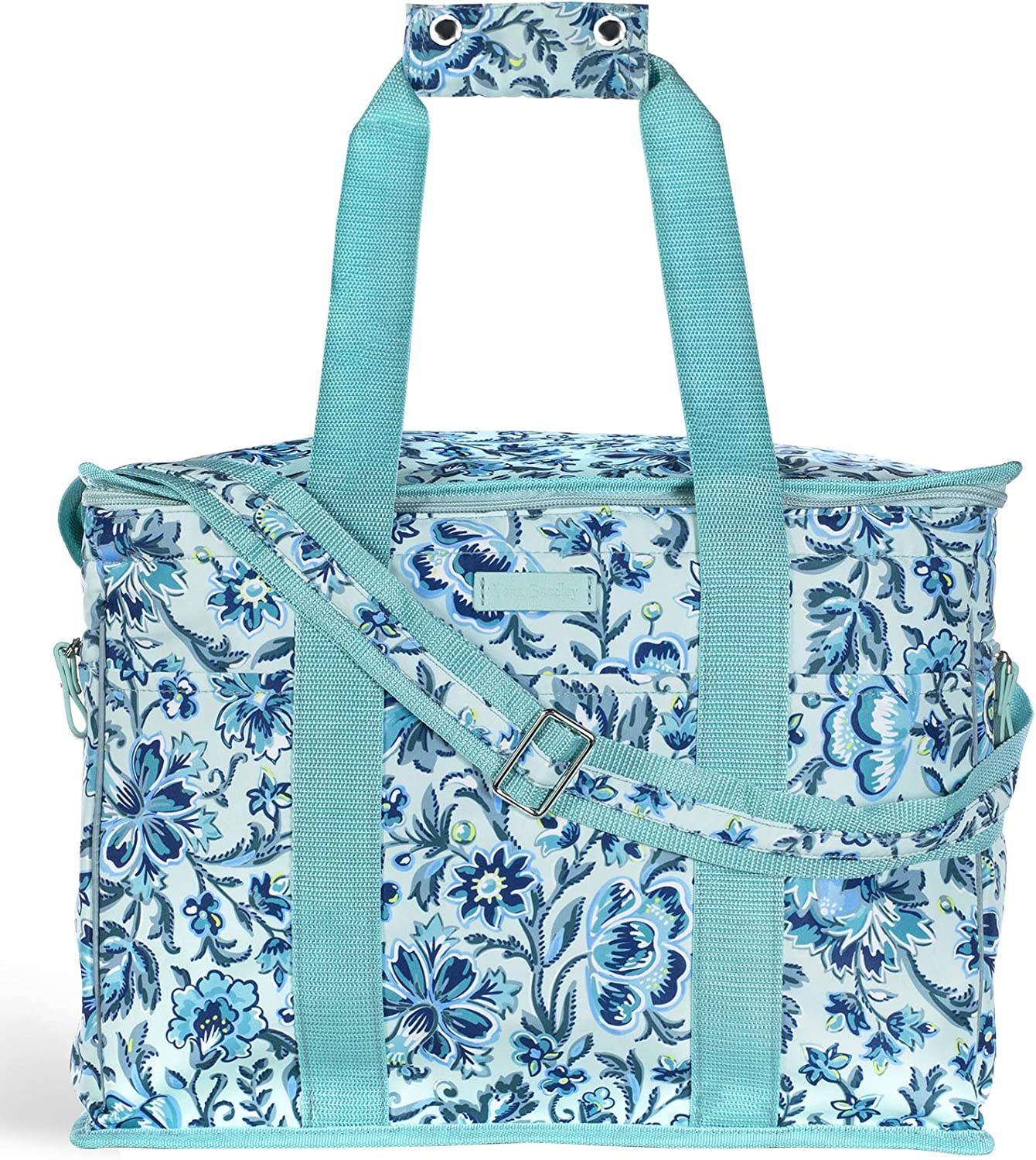 Vera Bradley Leak Resistant Insulated Cooler Bag Large Capacity, Blue Soft Sided Collapsible Cooler, Portable Beach Tote Bag with Handles and Adjustable Shoulder Strap, Cloud Vine