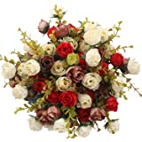 Duovlo 7 Branch 21 Heads Artificial Flowers Bouquet Mini Rose Wedding Home Office Decor,Pack of 4 (Red)