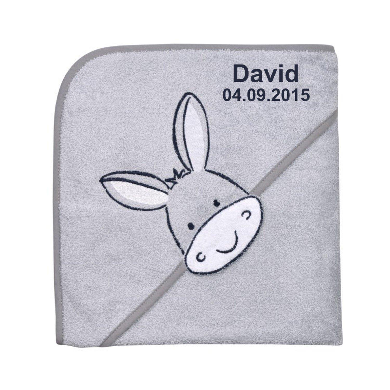 Wolimbo Kapuzenbadetuch mit Ihrem Wunsch-Namen und Tierkopf-Motiv - Format: 80x80cm - Motiv Esel beige - Das individuelle und kuschelig weiche Badehandtuch fü r Mä dchen und Jungs