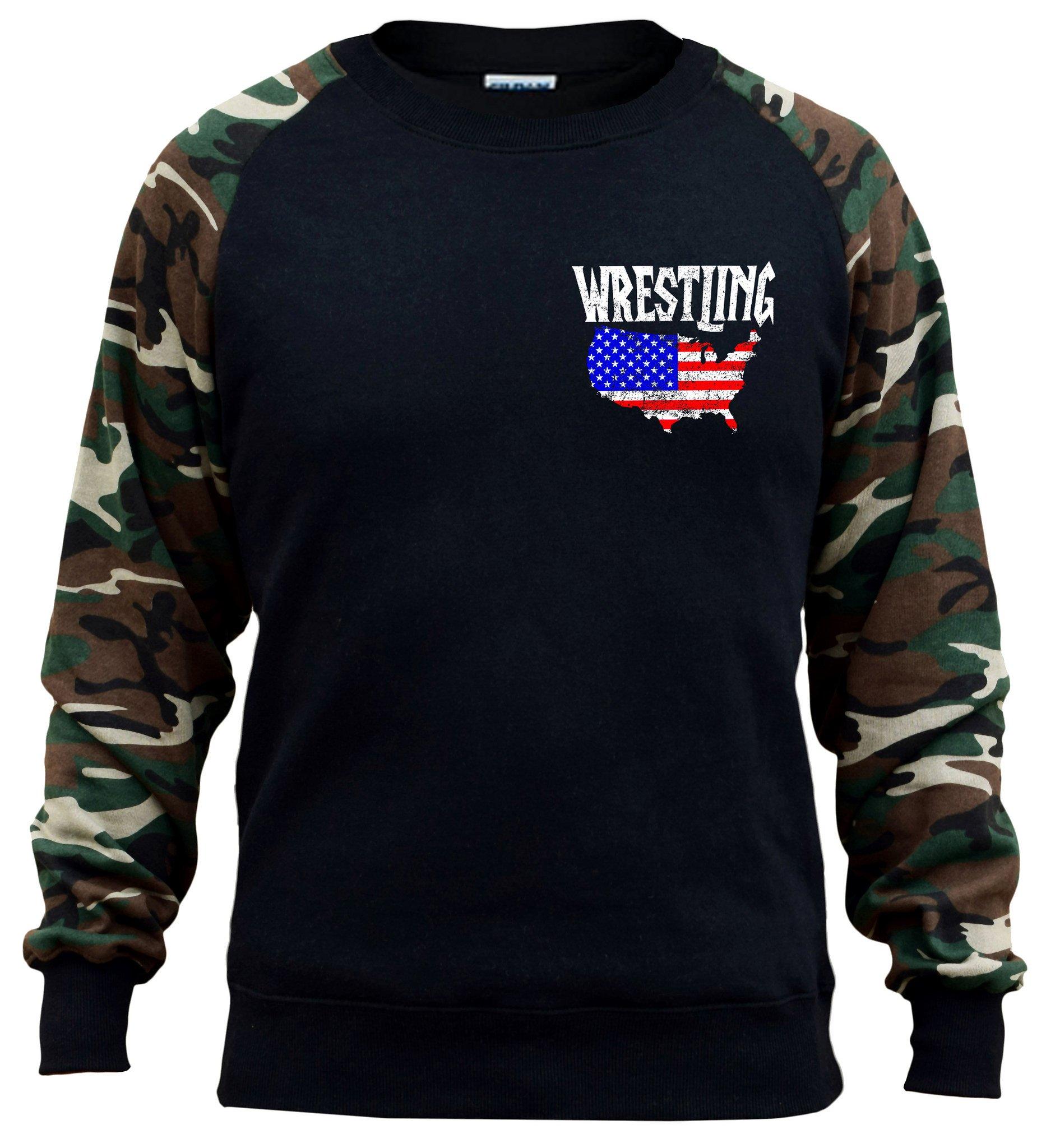 Interstate Apparel Men's Wrestling American Flag Map Black/Camo Raglan Baseball Sweatshirt Large Black