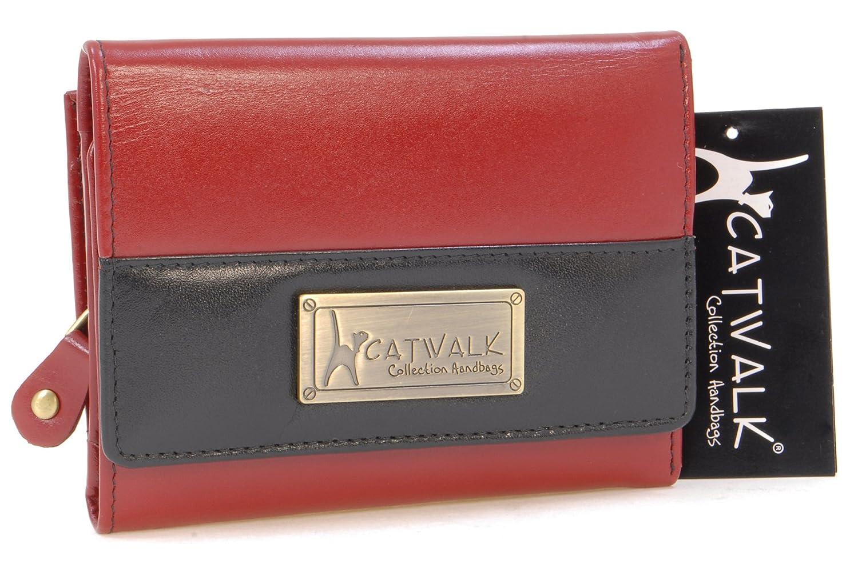 CATWALK COLLECTION - MILAN - Cartera - Cuero - Rosso y Negro: Amazon.es: Zapatos y complementos