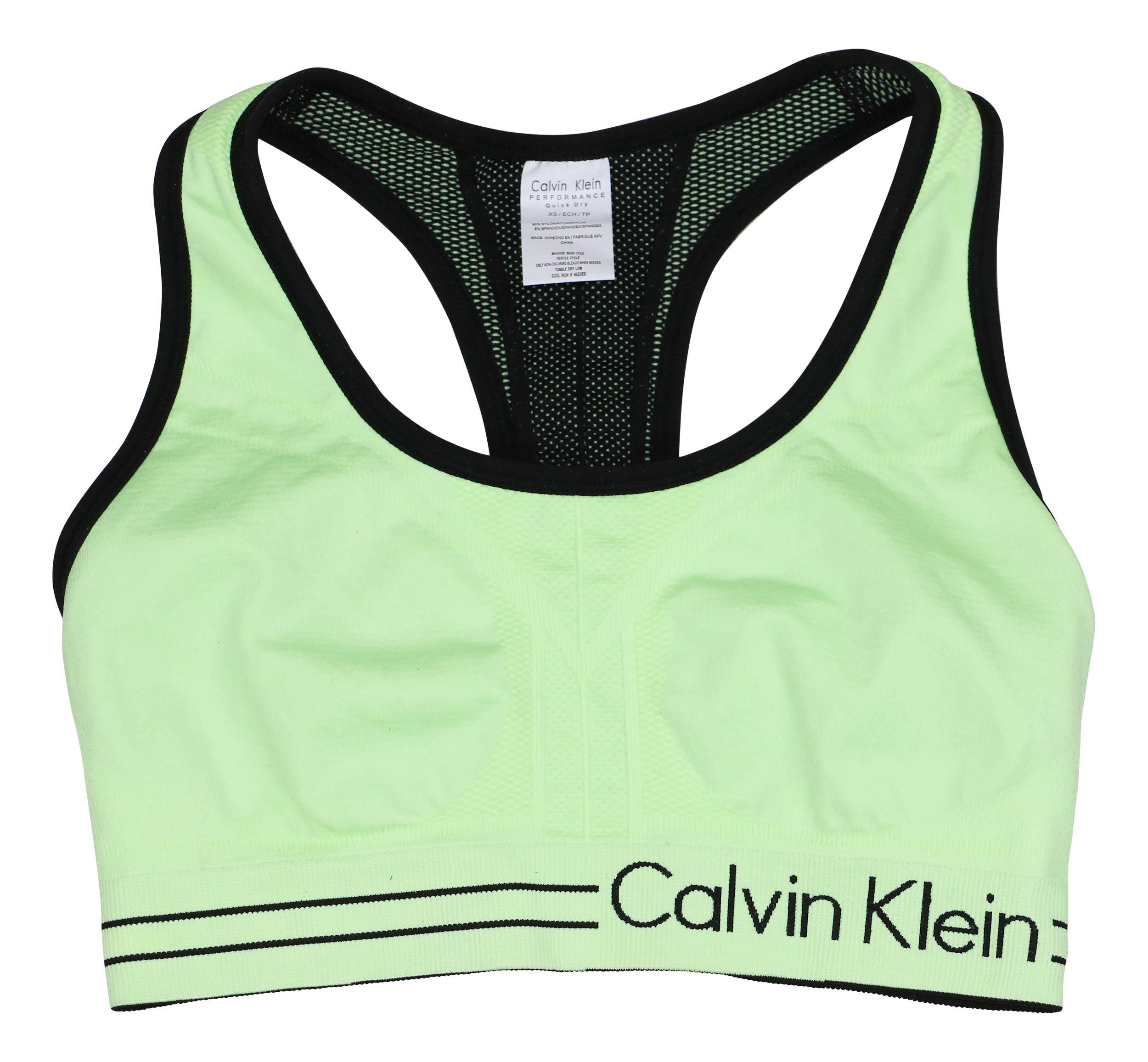 Calvin Klein Reversible Racerback Medium Impact Sports Bra (Mint, X-Small)