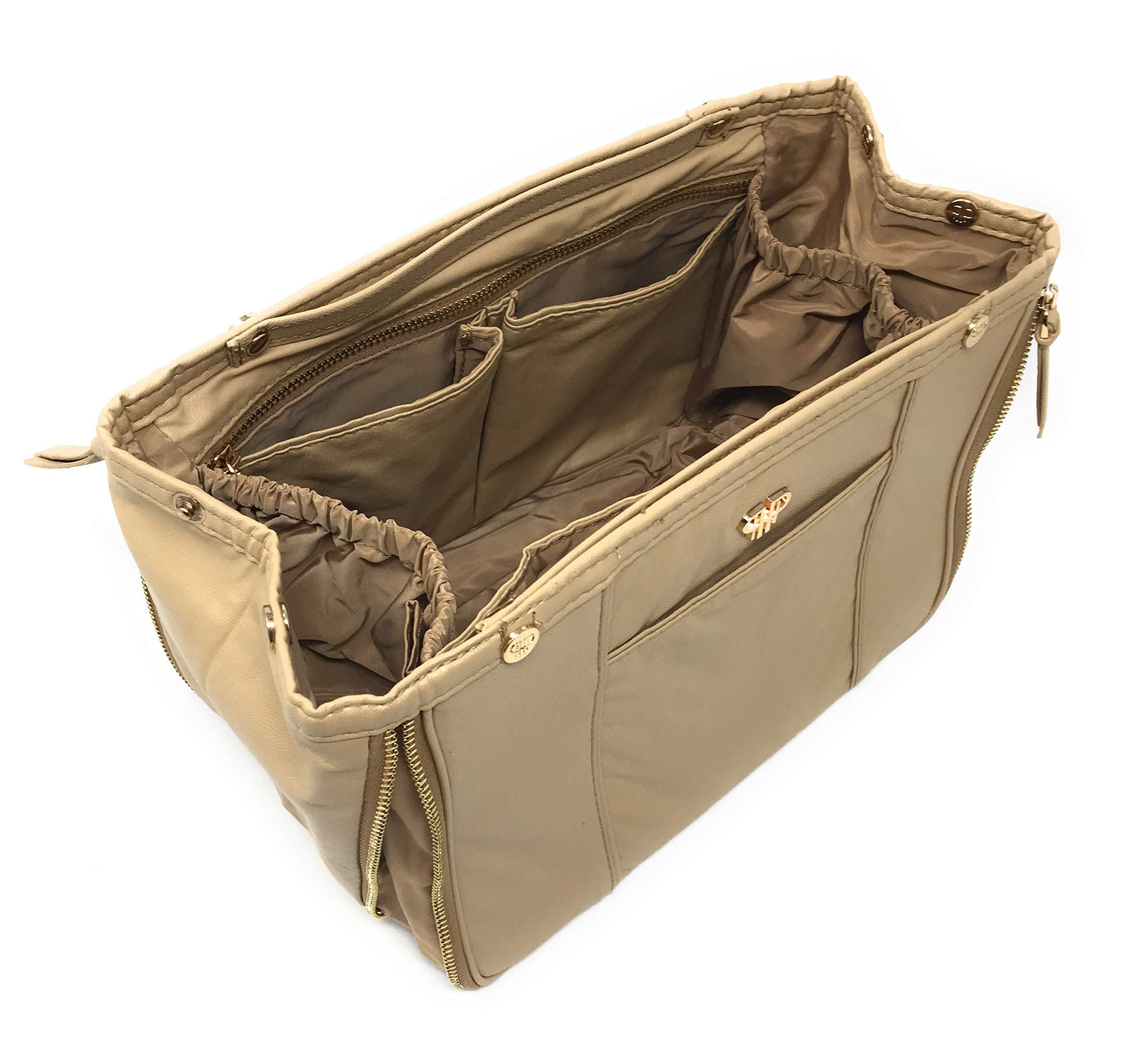 PurseN Handbag Organizer Purse Bag Liner Expandable Insert (Small, Nude)