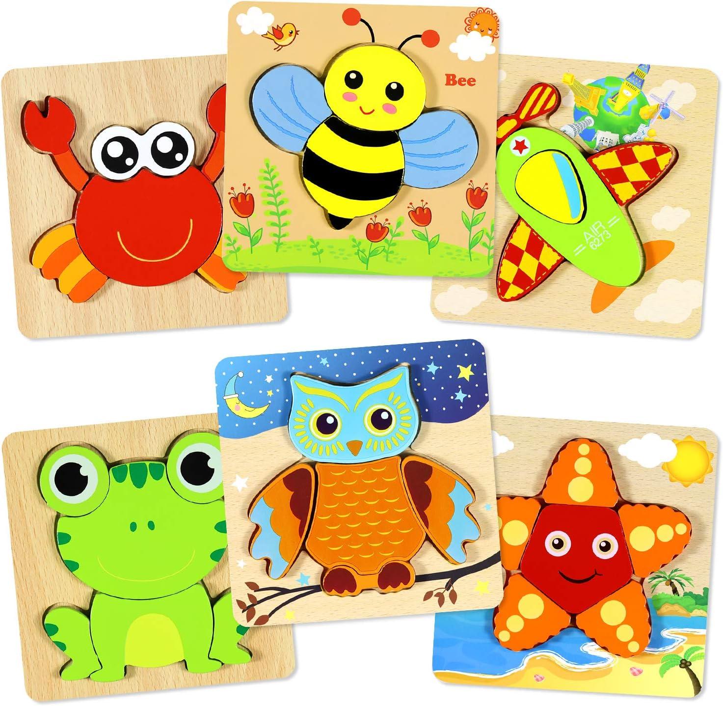 Puzzles de Madera Educativos Juguetes Bebes,Rompecabezas de Madera Juguetes niños 1 año 2 3 4 años,Colorido Rompecabezas de Animales 6 Piezas niños Juguetes de Inteligencia Rompecabezas (6 Pack)
