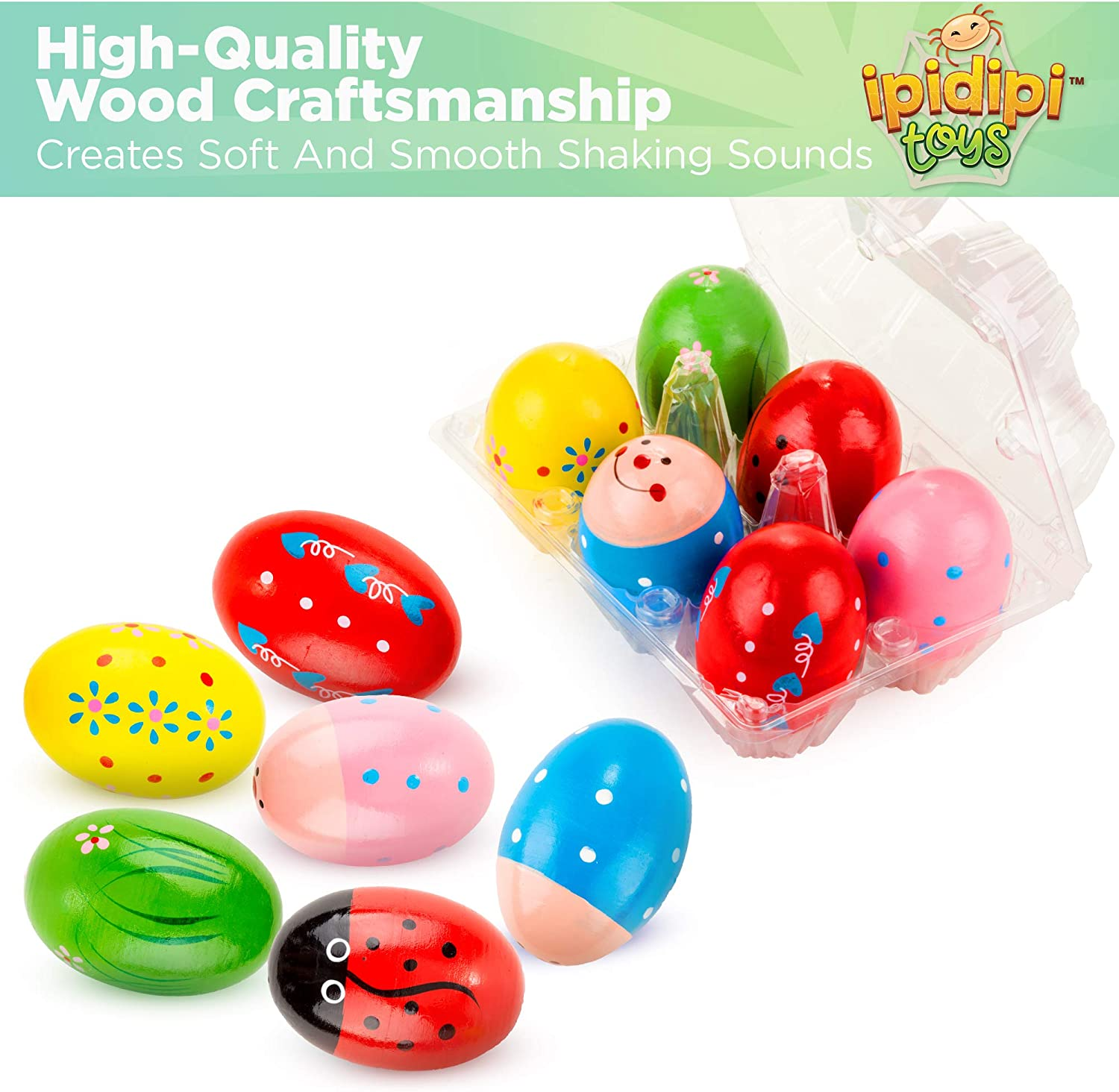 SODIAL Set of 6 pcs Wooden Percussion Musical Egg Maracas Egg Shakers Musical Instrument Toy for Kids