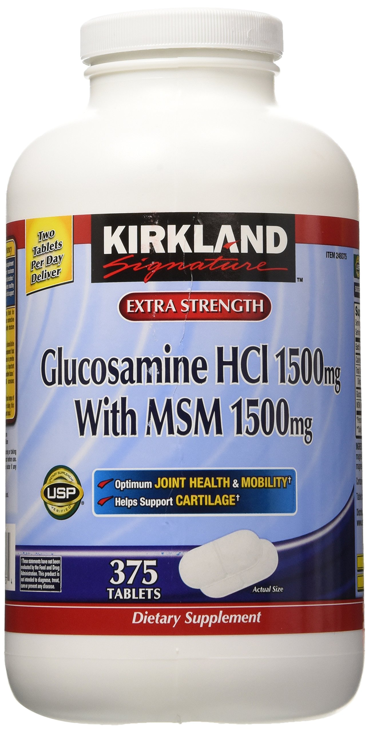 Kirkland Signature Extra Strength Glucosamine HCI 1500mg With MSM 1500 mg 375 Tablets (Pack of 2)