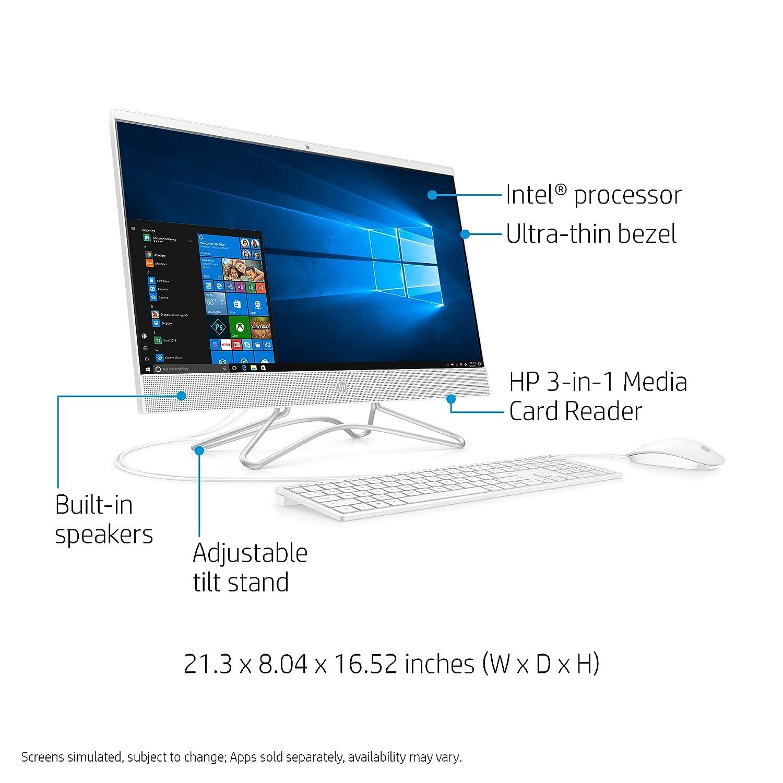 HP 24-Inch All-in-One Computer, Intel Pentium Silver J5005, 8GB RAM, 1TB Hard Drive, Windows 10 (24-f0010, White)