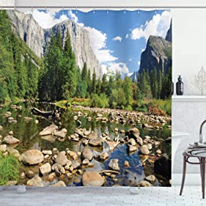 Ambesonne Apartment Decor Shower Curtain Set, Fluffy Clouds Forest Stones River in Yosemite National Park California USA Waterscape, Bathroom Accessories, 75 Inches Long, Green Blue