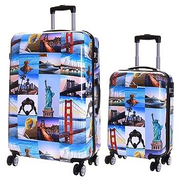 moins cher 44a80 d973f Karabar Valise Rigide à roulettes pivotantes de qualité supérieure avec  Serrure TSA intégrée - Ensemble Lot de 2 valises rigides pièces, Falla ...
