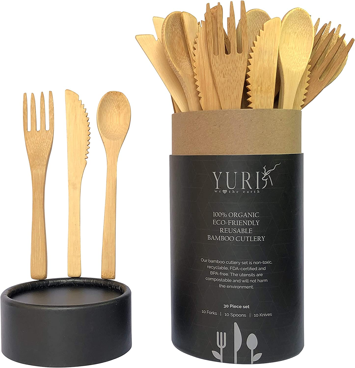 Amazon.com: 30-Piece Premium Quality Reusable Bamboo Utensils, Eco-Friendly  Travel Utensils in Portable Case, Compostable Picnic Cutlery, Camping  Utensil Set: Kitchen & Dining