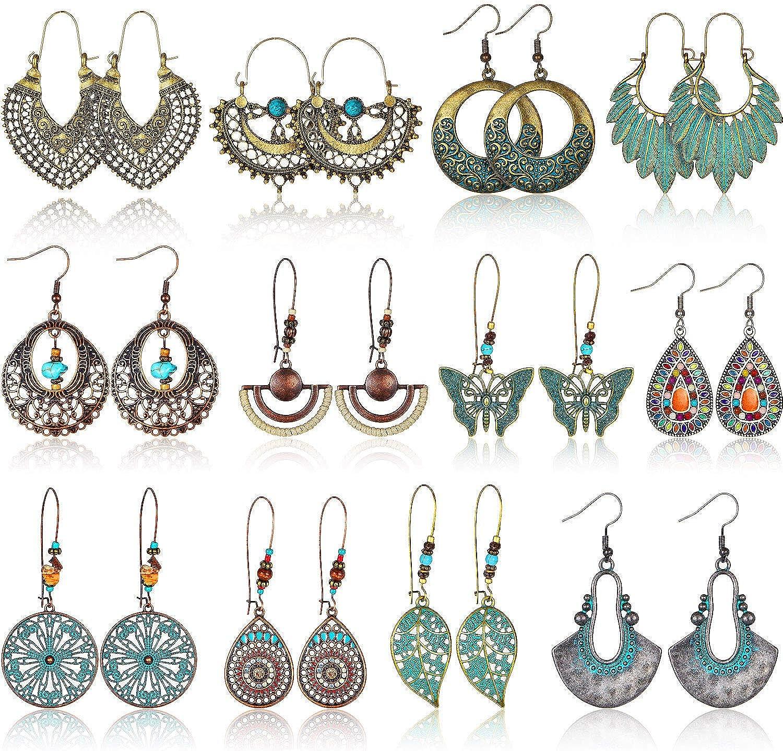 4 Pair Women Elegant Water Drop Push Back Dangle Earrings ILOE