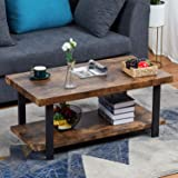 Sedeta Rustic Natural Coffee Table, Industrial Coffee Table with Storage Bottom Open Shelf, Wood and Frame Legs Metal…