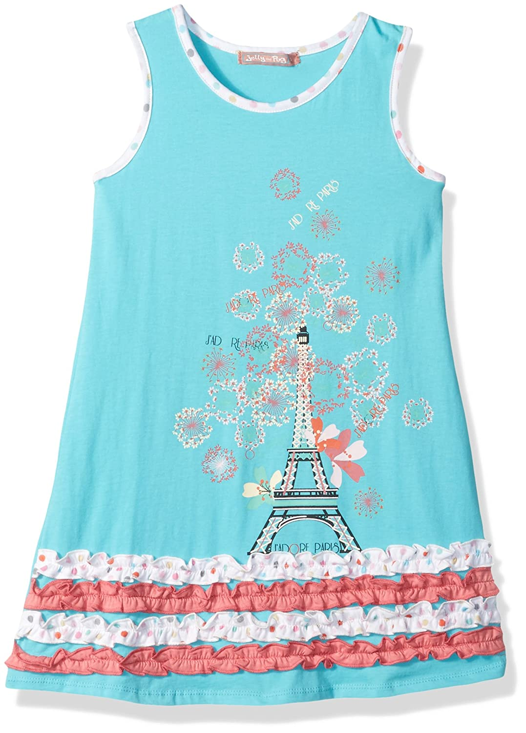 Jelly the Pug Little Girls' Spring In Paris Floral Applique Dress
