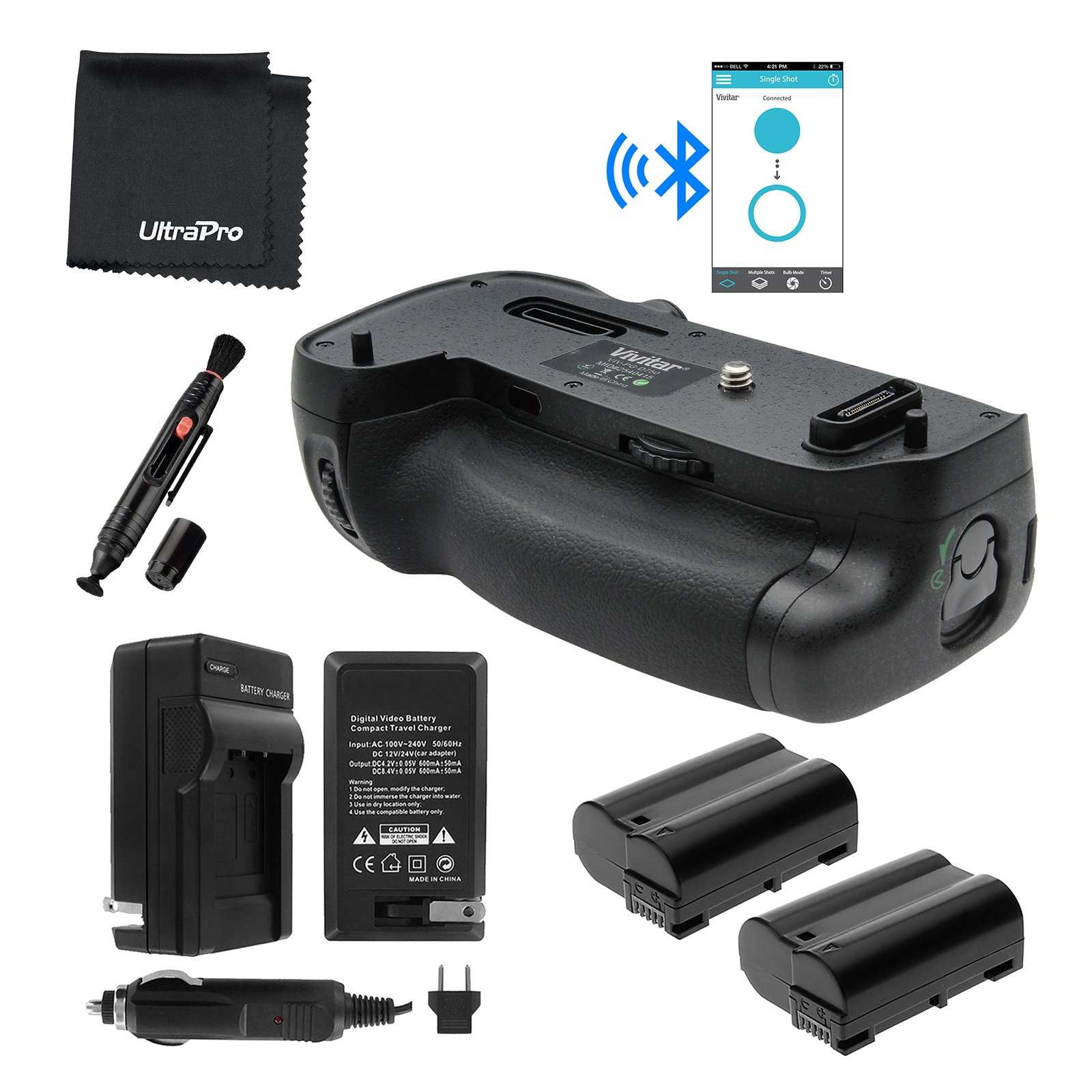 Bluetooth Battery Grip Bundle F/ Nikon D750 Camera - UltraPro Bundle Includes: Vertical Battery Replacement Grip for MB-D16, 2-Pk EN-EL15 Replacement Long-Life Batteries, Charger and More by UltraPro