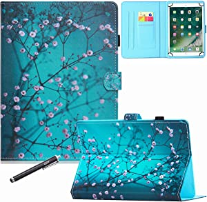 8 Inch Universal Case, GSFY Pretty Folio Stand Protective Case Leather Pocket Cover with Stylus Holder for iPad Mini/Samsung/Kindle/Huawei/Lenovo/Nook 7.9 8.0 8.4 Inch Tablet - Apricot Blossom