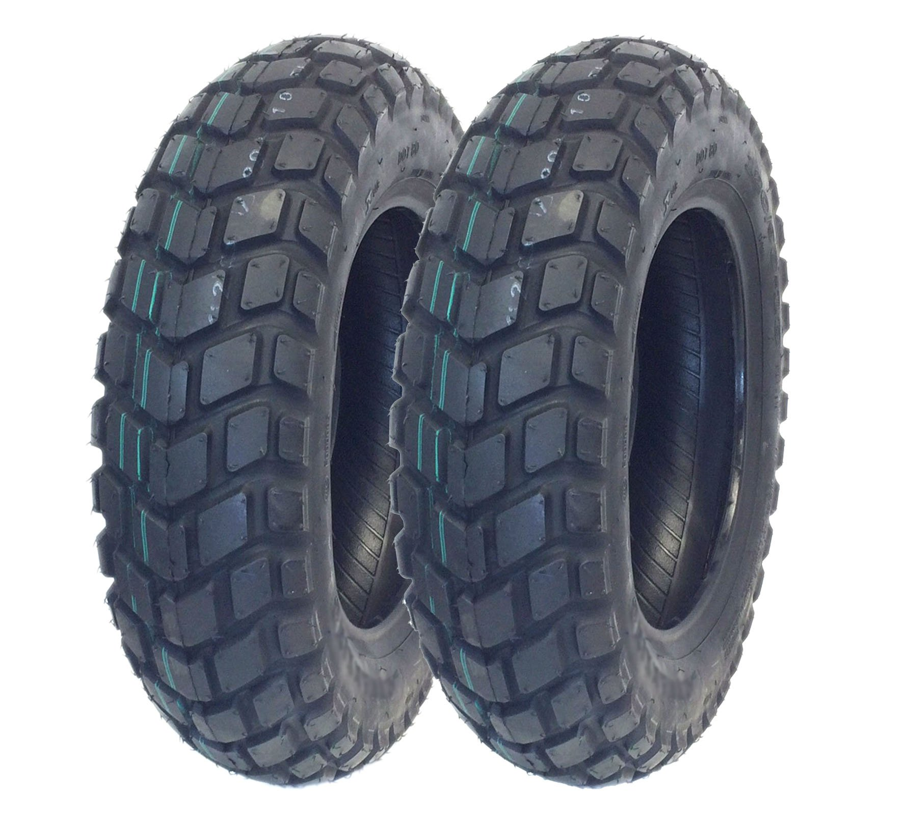 MMG Set of 2 Tires 130/90-10 (P126) Tubeless Front/Rear Motorcycle Scooter Moped by MMG