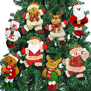 AMENON Christmas Ornaments Set, 8 Pack Christmas Tree Plush Hanging Ornaments Decorations Santa/Snowman/Elk/Bear Ornaments for Christmas Tree Pendant Festive Season Holiday Party Decor