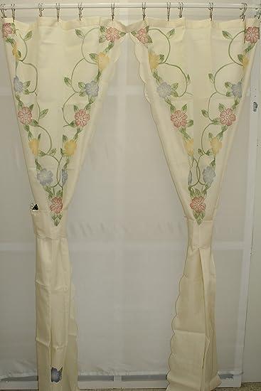 Amazoncom Cascade Floral Split Shower Curtain With Tiebacks Ecru
