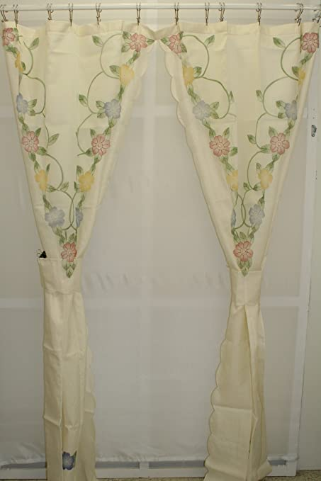 Shower Curtains With Valance And Tiebacks.Cascade Floral Split Shower Curtain With Tiebacks Ecru Multi