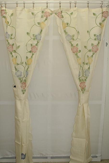 Amazon Cascade Floral Split Shower Curtain With Tiebacks Ecru