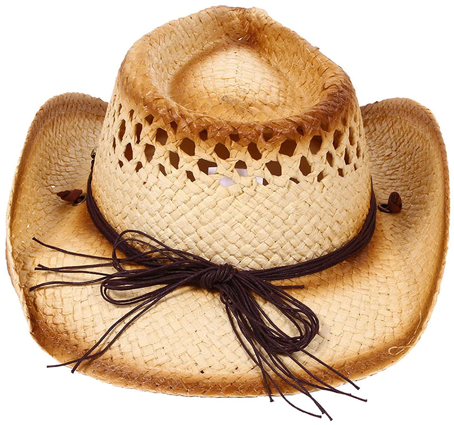 Amazon.com  Kids Childs Summer Party Straw Cowboy Cowgirl Hats Wide Brim  Beach Sun Hats  Clothing 25e2fc03c493