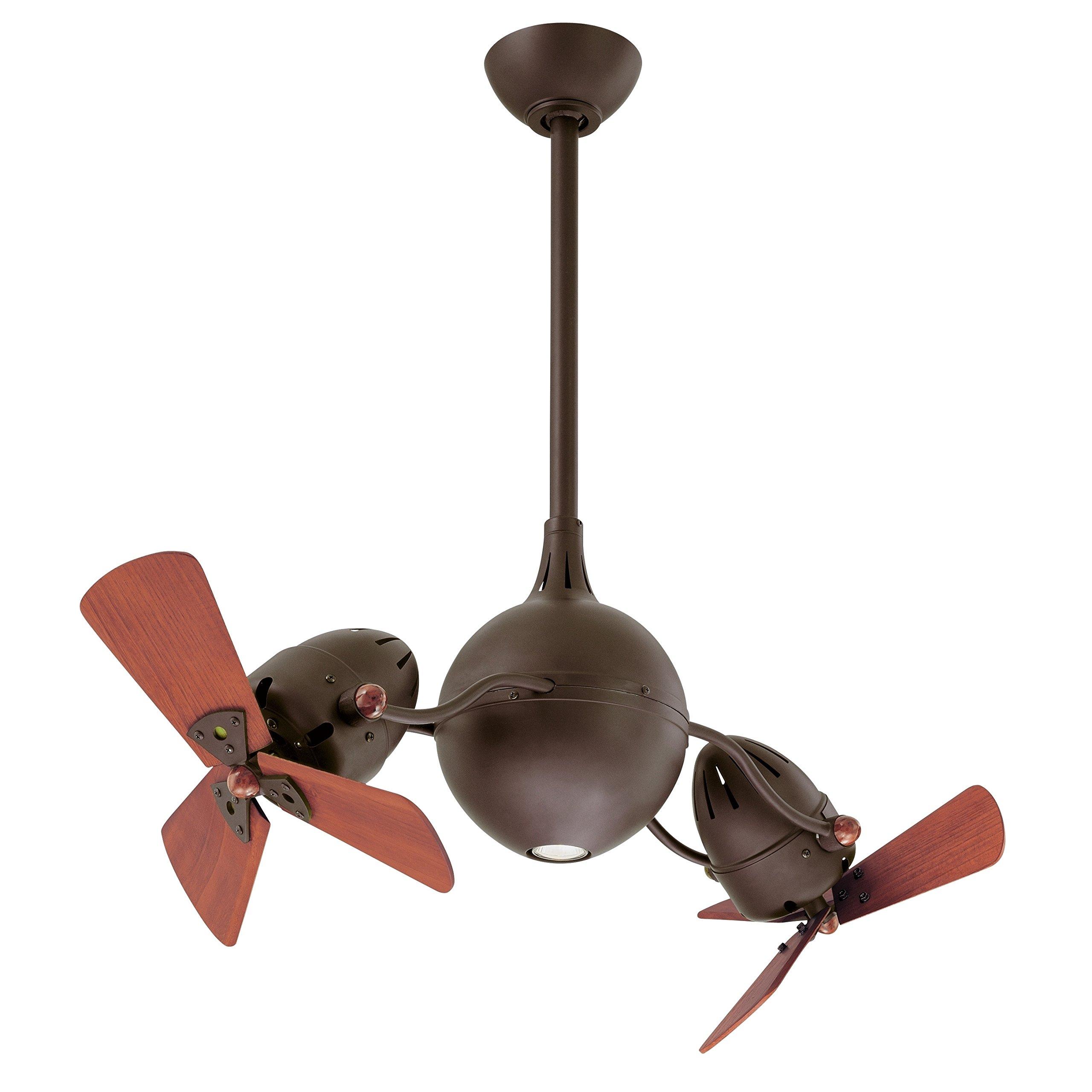 Matthews AQ-TB-WD, Acqua Bronze Dual 37'' Ceiling Fan with Light & Remote Control