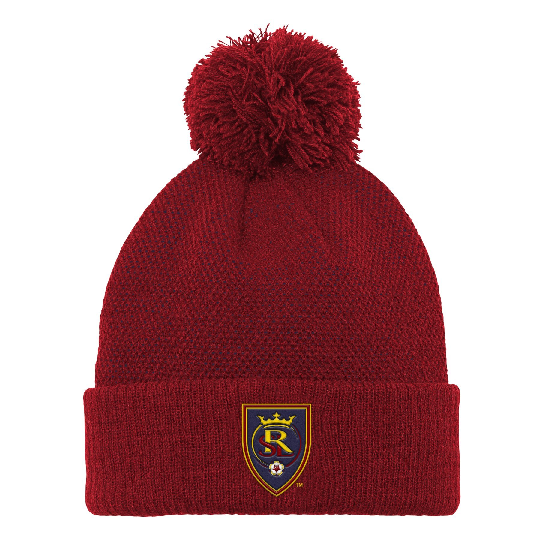 Outerstuff MLS Real Salt Lake Boys Cuffed Knit Hat with Pom, Crimson Red, One Size (8)