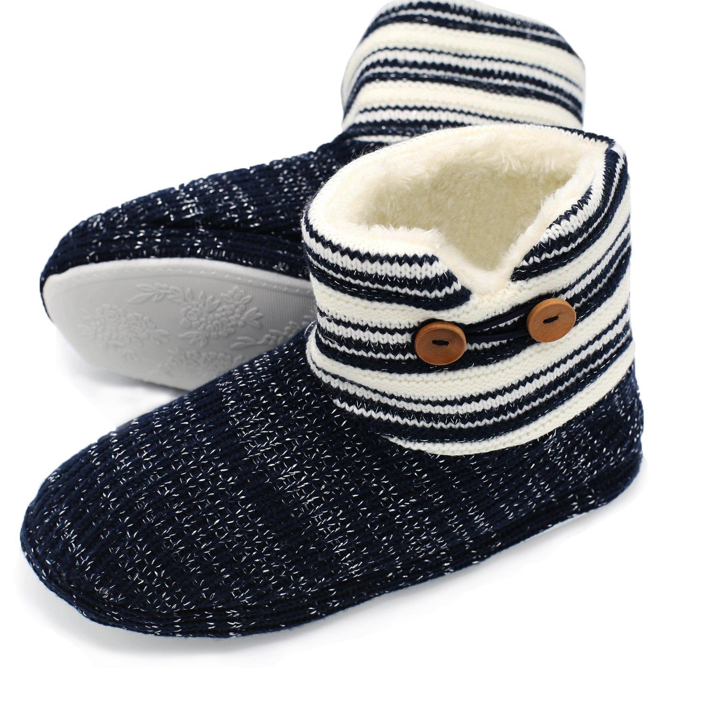 ONCAI Calde Pantofole da Donna a Stivaletto Pantofole A Casa Antiscivolo Autunno Inverno Blue