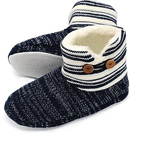 ONCAI Kaschmir Strick Damen Hohe Hausschuhe mit Streifen Wärme Hüttenschuhe für Rutschfeste Winter Indoor