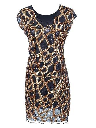 Anna-Kaci S / M Fit Schwarz Slim Silvester Kleid Short Sleeve mit V ...