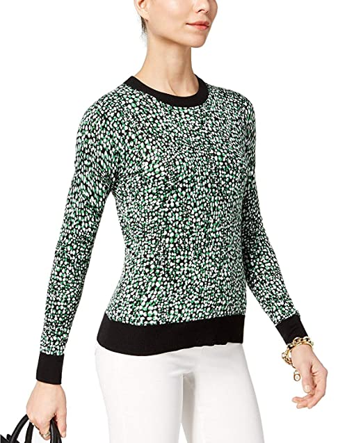 b430da742cc Image Unavailable. Image not available for. Color  MICHAEL Michael Kors  Women s Printed Ribbed-Contrast Sweater Bright Palm Black Medium