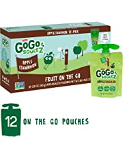 GoGo squeeZ Applesauce on the Go, Apple Cinnamon, 3.2 Ounce (12 Pouches), Gluten Free, Vegan Friendly, Healthy Snacks, Unsweetened Applesauce, Recloseable, BPA Free Pouches
