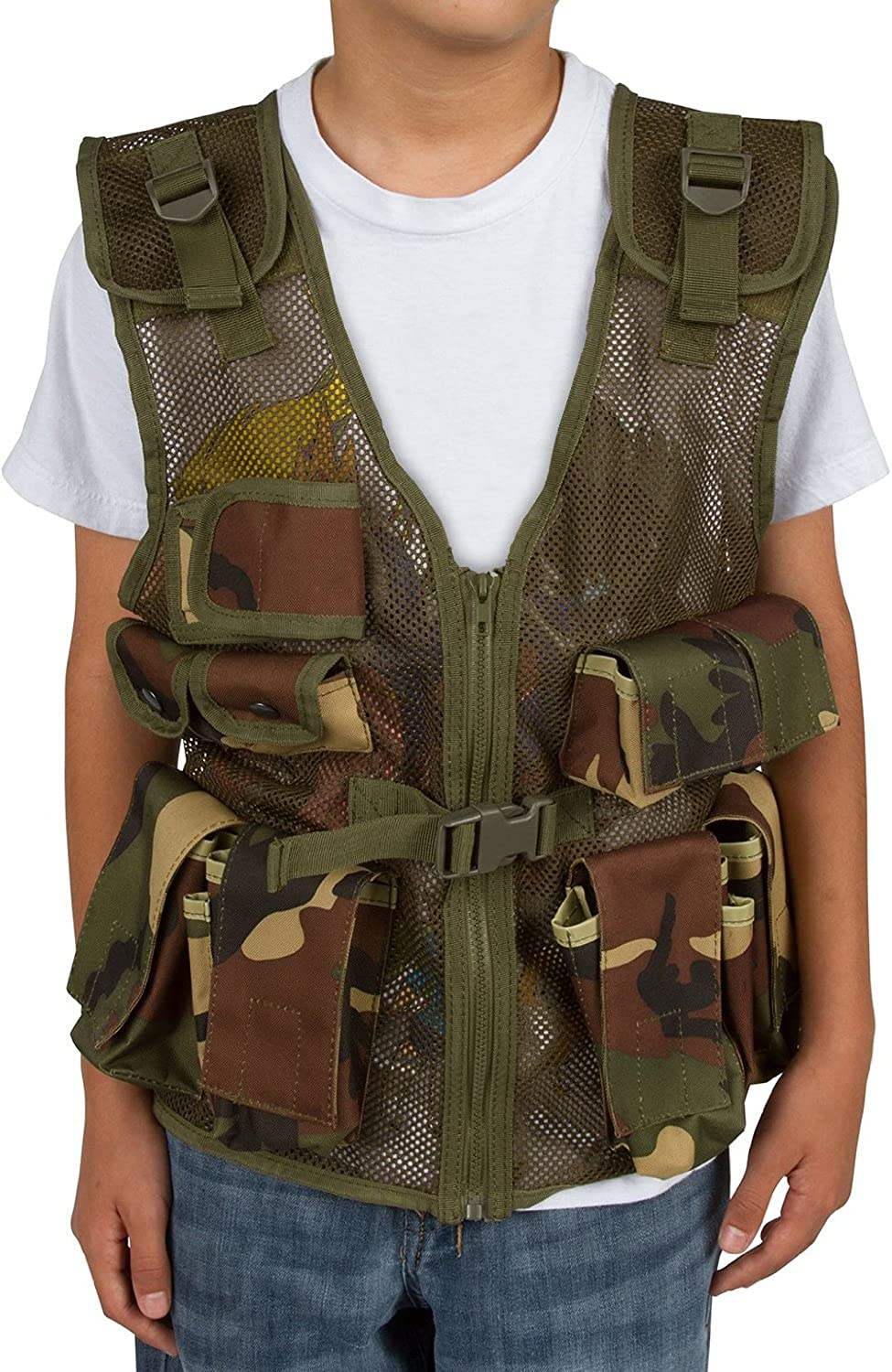 32ddd4fb1fe4c Modern Warrior Airsoft and Paintball Accessory-Junior Tactical Vest, Fits  Children and Teens 50 to 125-Pound, Camo, Tactical Vests - Amazon Canada