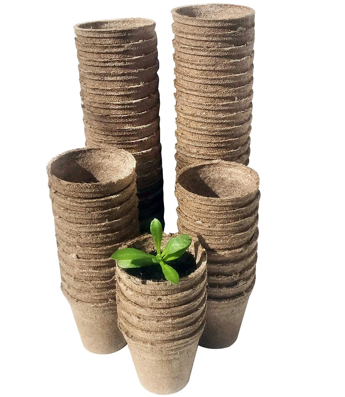 Urban Sprout - Macetas biodegradables, 100 macetas de fibra para plantar semillas, 6 cm, forma redonda Tetra Products Ltd