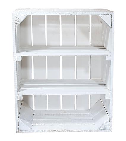 Caja blanca de madera con 2 Blancas Medio Tablas – Horizontal de 50 x 40 x