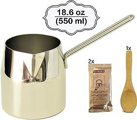 Medium 18.6 oz Polished Stainless Steel Thickest Heavy Duty Turkish Coffee Decanter Espresso Pot Warmer milk Ibrik Cezve Arabic Briki Stovetop Coffee Maker
