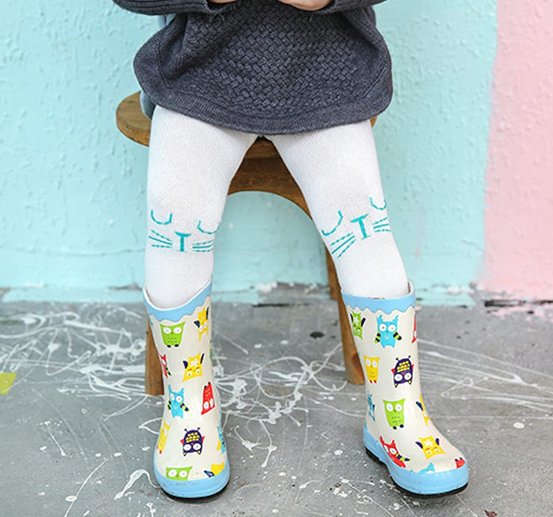Elonglin unisex Baby Kids Cotton leggings collant stampa Cartoon neonato collant neonato con piedi animale Warrm calze Striped 2 0-1 anni