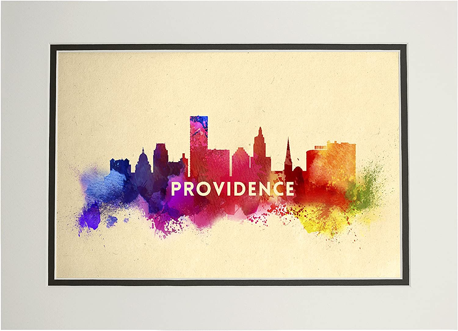 Amazon Com Providence Rhode Island Skyline Abstract 11x14 Double Matted Art Print Wall Decor Ready To Frame Posters Prints