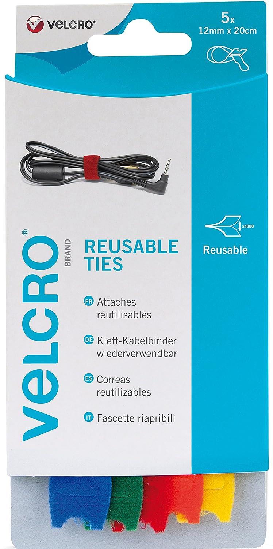 VELCRO Brand Correas reutilizables 12mm x 20cm x 5 Velcro Europe S.A. VEL-EC60250