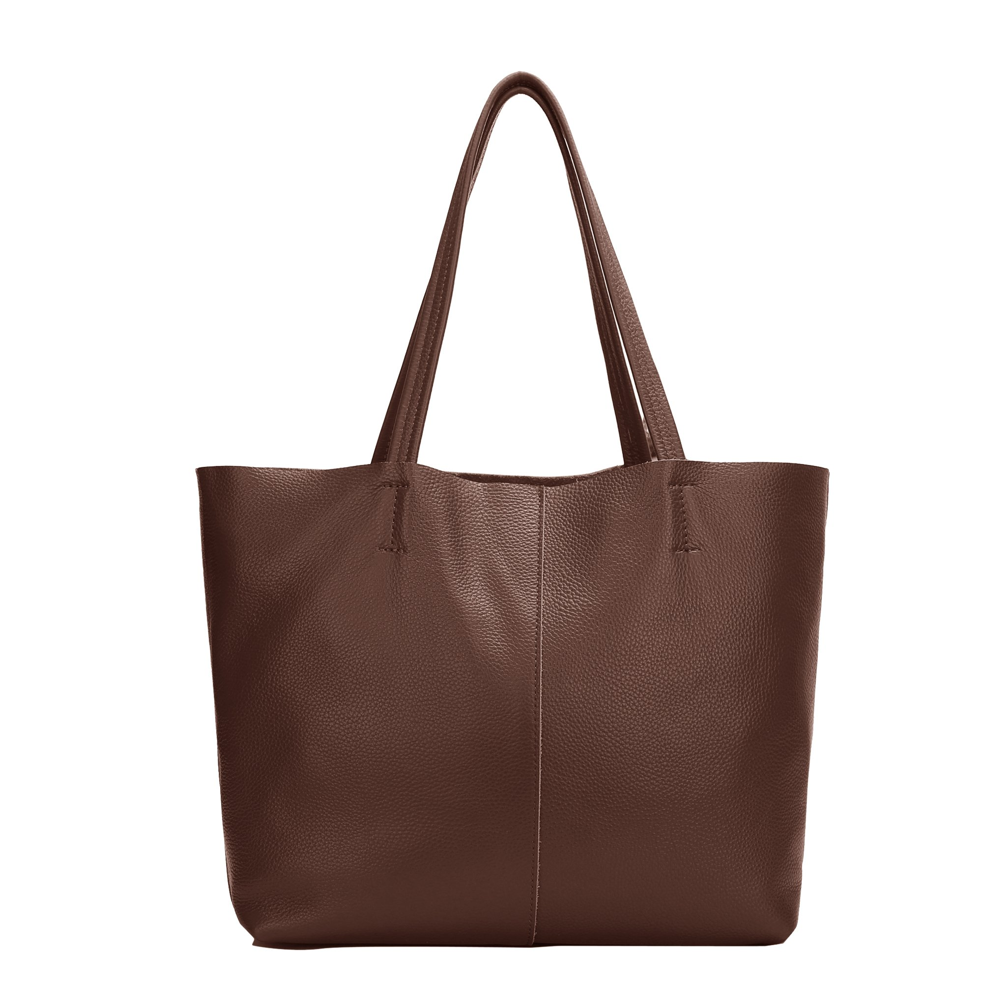 Damero Women's Soft Vintage Leather Shoulder Bag with Removable Lining (Medium, Coffee)