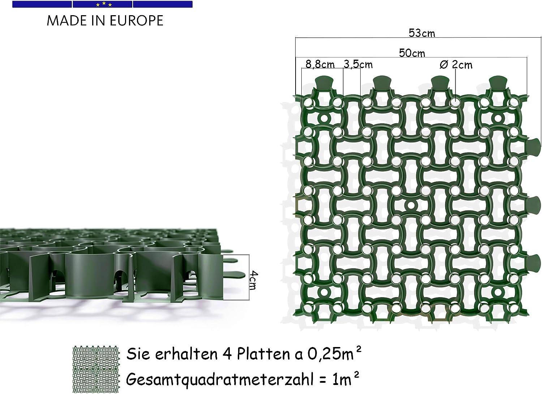 Rasengitter Paddockplatte 50x50 cm Reitplatzmatten Rasenmatten Rasenwaben Kiesgitter Parkplatzrasen 0,25 m/²