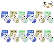 12-Pack NEWBORN Unisex Infant Baby Socks 0-6 Month Polka Dot 600-52