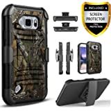Galaxy S6 Active Case, Dual Layers [Combo Holster] and Built-in Kickstand Bundled with [Premium HD Screen Protector] Hybird Shockproof and Circlemalls Stylus Pen for Samsung Galaxy S6 Active (Camo)