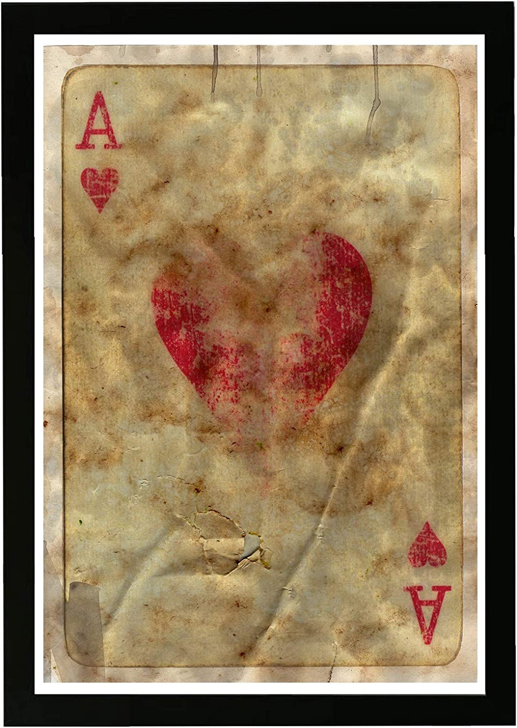 Amazon Com Wynwood Studio Entertainment And Hobbies Framed Wall Art Prints Ace Of Hearts Home Décor 13 X 19 Brown Red Posters Prints
