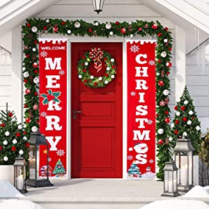 Christmas Porch Decorations for Home Merry Christmas Banner Welcome Sign for Front Door, Christmas Hanging Decorations Indoor Outdoor Fireplace Wall Decor