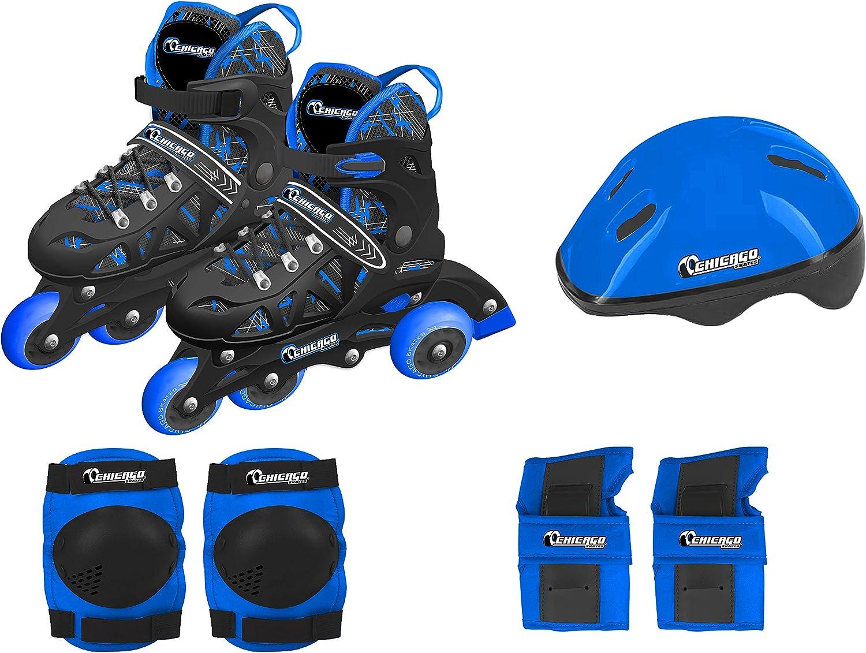Chicago Skates Boys Inline Training Skate Combo Set Medium Blue