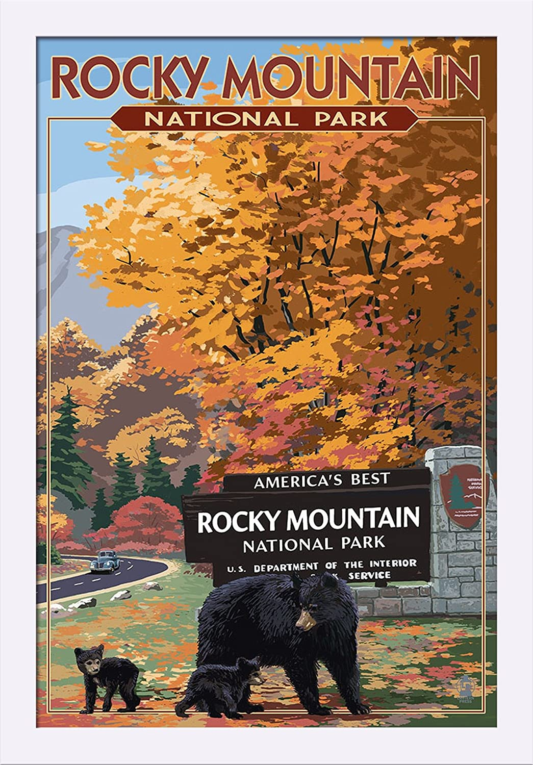 Rocky Mountain National Park Black Bear and Cubs at Entrance 24x36 Giclee Art Print, Gallery Framed, Espresso Wood