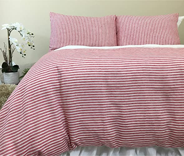 Amazon Com Red And White Striped Linen Duvet Cover Farmhouse