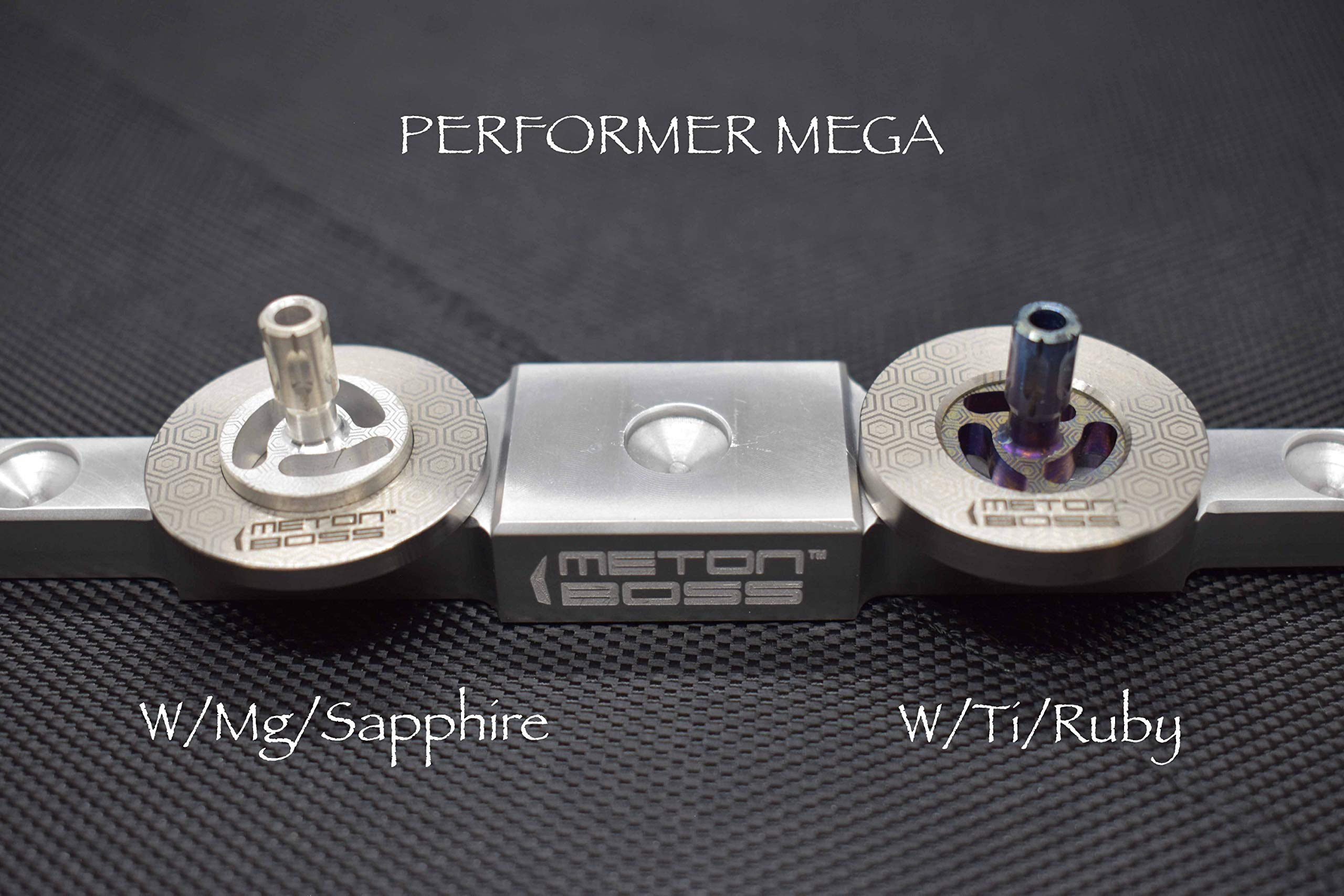 MetonBoss Spinning Tops - Tungsten Rotor / Precision Milled Titanium Core with Ruby Bearing | Everyday Carry Birthday Gift Ideas | Collectable Fidget (Performer MEGA) by MetonBoss (Image #7)